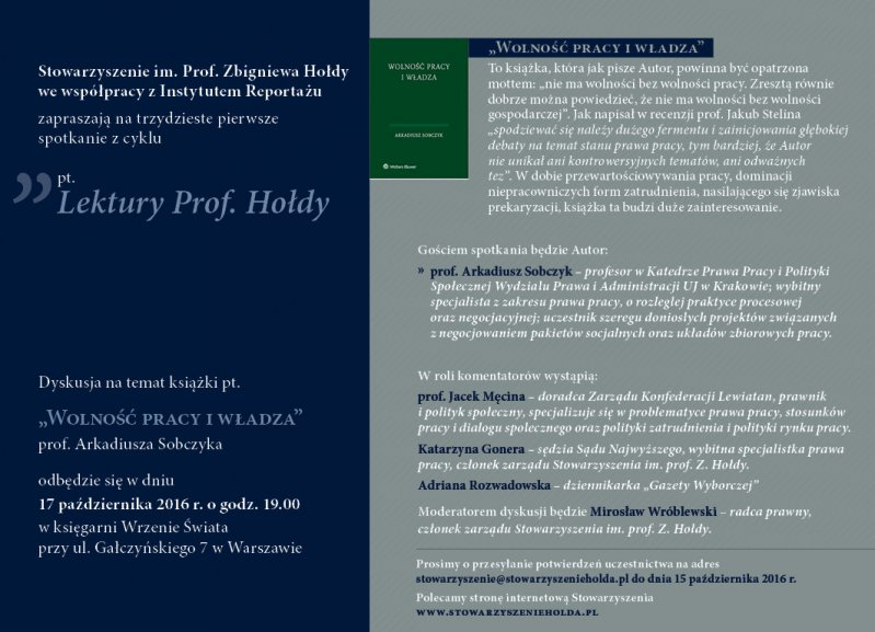 """Lektury Prof.Hołdy. Spotkanie 31: """"Wolność pracy iwładza"""""""