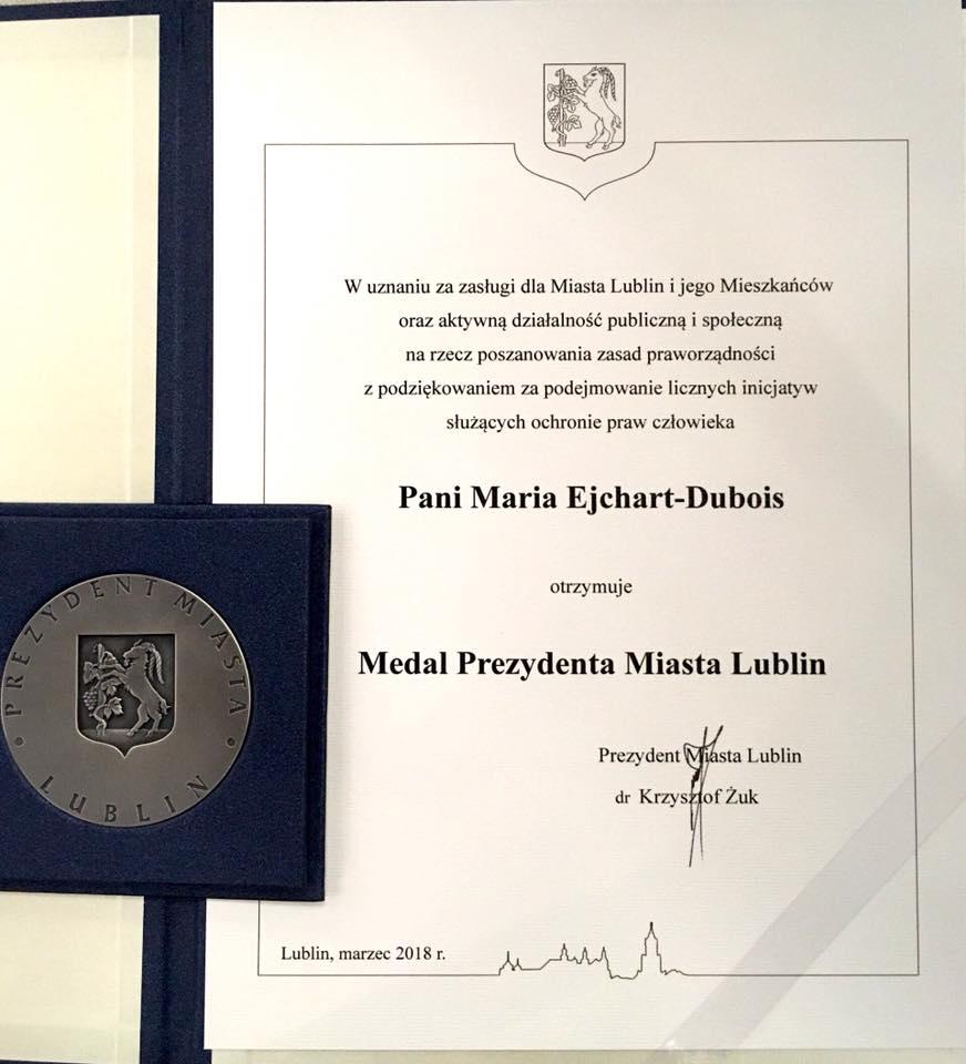 Medal Prezydenta Miasta Lublin dla Marii Ejchart-Dubois, Prezeski Stowarzyszenia im.Prof. Zbigniewa Hołdy