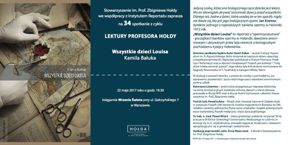 """Lektury prof.Hołdy – spotkanie 34 wokół reportażu Kamila Bałuka """"Wszystkie dzieci Louisa"""""""