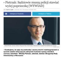 """""""Pietrzak: Sędziowie muszą policji stawiać wyżej poprzeczkę"""""""
